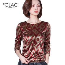 Buy FGLAC Women blouses shirt New Arrivals Autumn winter Velour shirts Elegant Slim Print women tops plus size women clothing for $14.72 in AliExpress store