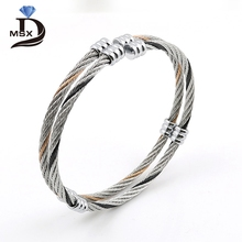 MSX New Fashion Two Layer Stainless Steel Twist Screw Nut Bracelets & Bangle For Women Men  Open Cube Bangles for girlfriend