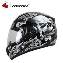 NENKI Men's Motorcycle Helmets Skull Printing Full Face Riding Helmet Clear Lens Motocross Helmet Casco Moto(China)