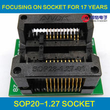 SOP20 SOIC 20 SO20 to DIP20 Programming Socket Pitch 1.27m IC Body Width 7.5mm 300mil Flash Test Socket Adapter