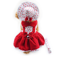 Armi store Heart Shape Dog Dresses Fashion Dogs Princess Dress 6071080 Pet Clothing Supplies ( Dress+Hat+Panties Leash = 1 set