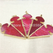 H-SP43 Hot Pink Agat Arrowhead Pendant Natural Stone Arrow Charm for Jewelry Making Gold Color(China)