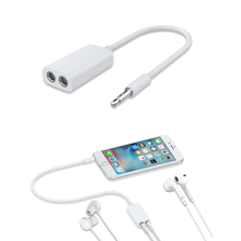 3.5mm Jack 1 In 2 Out Earphone Aux Cable Splitter Headphones Mobile Phone Plug One In Two Couples for Audio Line(China)