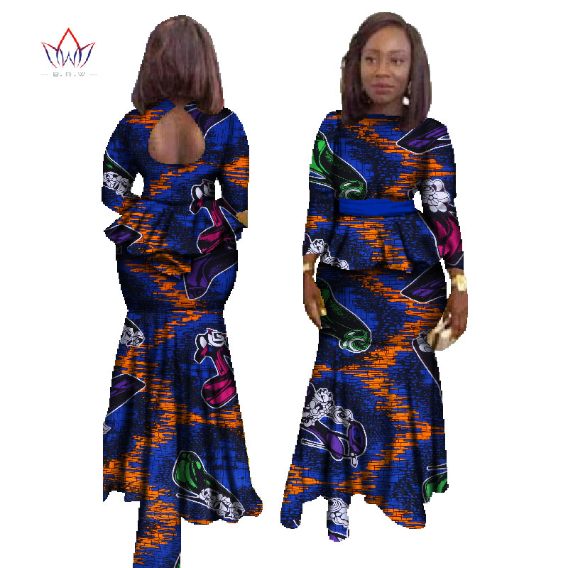 BRW 2019 Fashion African Skirt Set for Women Dashiki Plus Size African Clothing Bazin Sexy Traditional African Clothing WY023