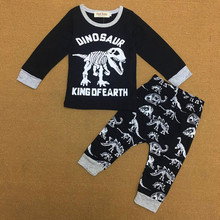 20172017 autumn new foreign trade cartoon dinosaur long sleeve children's suit baby boy clothes(China)