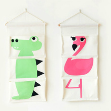 3-Pocket Cartoon Animal Flamingo Linen Storage Bags Wall Door Hanging Bag Home Organizer for Sundries Toys Books 1PC