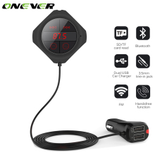 Onever Dual USB Output Car Bluetooth FM Transmitter Handsfree Car Kit MP3 Player Wireless FM Modulator Support TF Card/USB Music