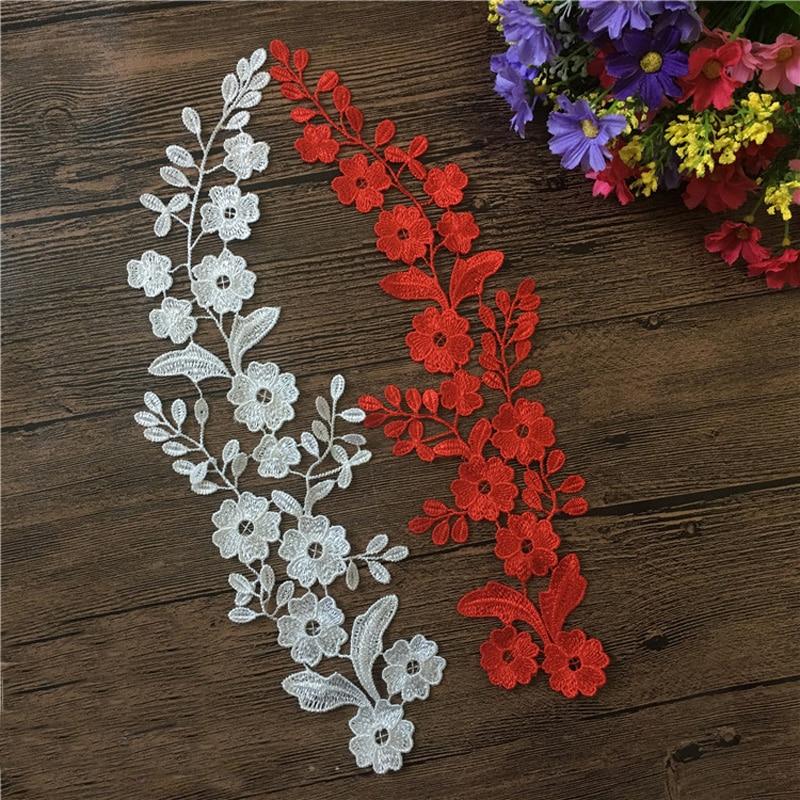 Pair Off  BEAUTIFUL  WHITE FLORAL  APPLIQUES LACE MOTIF 7.5cm*12cm