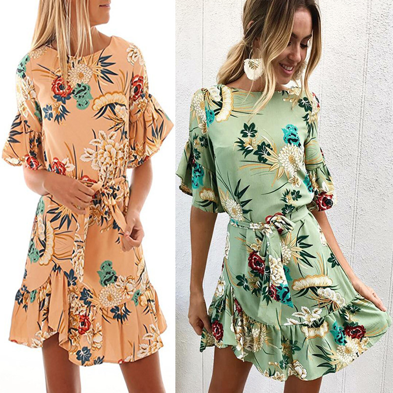 Lossky Summer Women Beach Dress 2018 Bohemian Floral Print Boho Dress O-Neck Short Sleeve Ruffle Mini Chiffon Dress With Belt 22