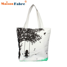 Women Girl On Swing Canvas Bag Casual Women Messenger Shoulder Bag Handbags Beach Ladies Messenger Zipper Simple Handbag Nov20
