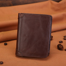 Classic Coffee Compact and Practical 100% Genuine Leather Folding Short Wallet Photo Bank ID Card Finishing Package Multi Card(China)