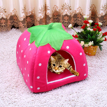 Hot Sale Cute Pet Supplies Dog House Soft Pink Cat Rabbit Bed House Kennel Doggy Warm Washable Cushion Baskets for Puppy Home(China)