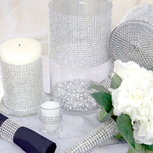 10 Yards 24 Rows of Silver Diamond Rhinestone Ribbon Wrap Wedding Table Decorations Christmas Birthday Party DIY Supplies