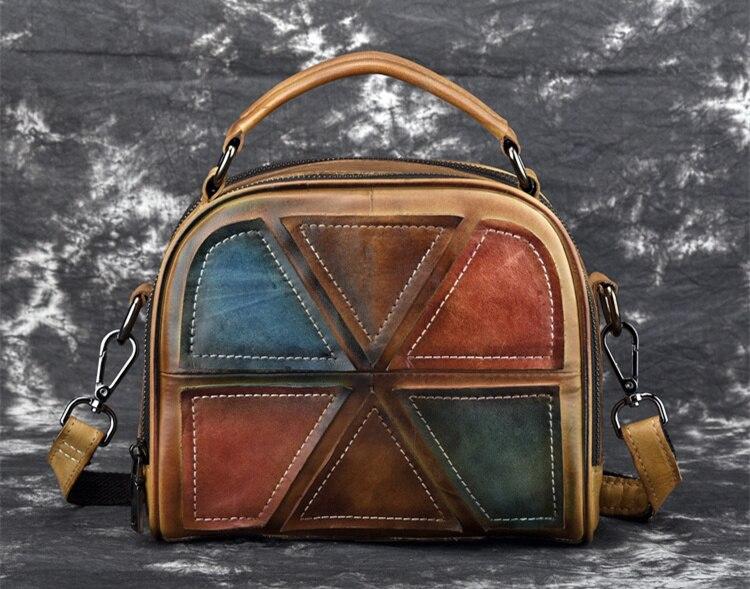Woman Handmade Vintage Genuine Leather Handbags Ladies Retro Shoulder Messenger Bag Tanned Leather Hand-printed Womans Bag 1