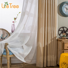 Blue Cream Tree Embroidered Modern Linen Curtains For Bedroom Living Room Window White Tulle Custom Made Window Screening(China)