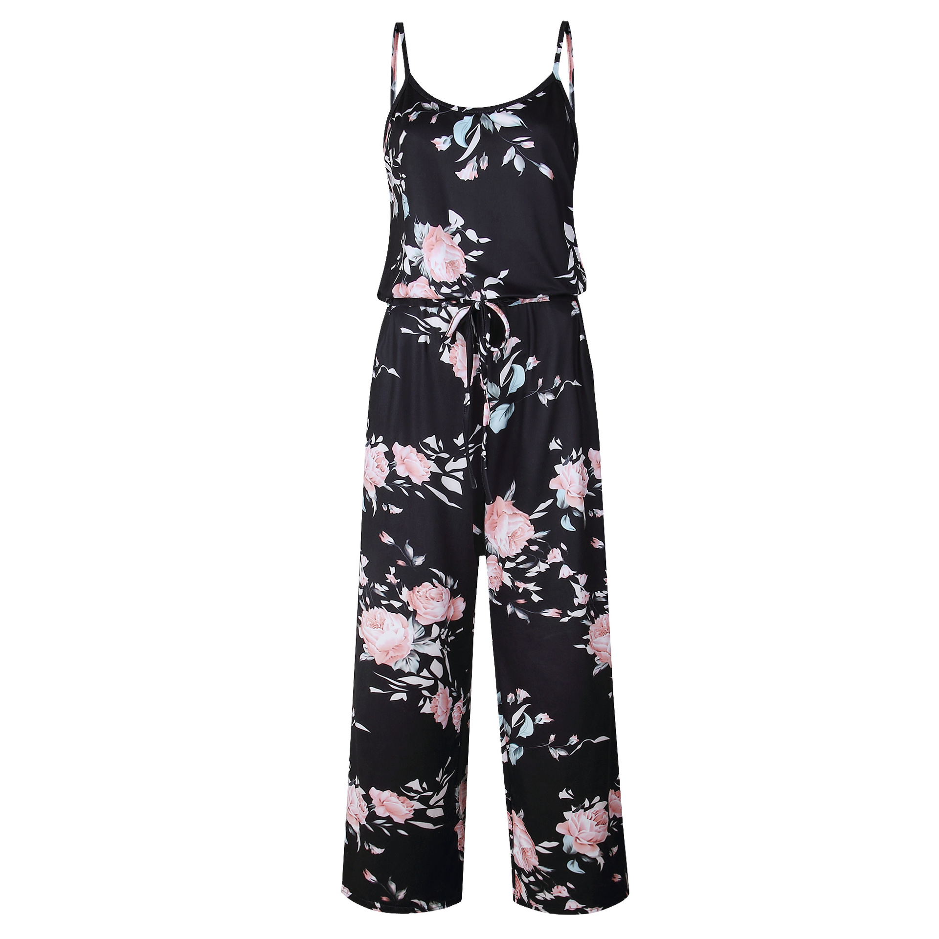 Spaghetti Strap Jumpsuit Women 2018 Summer Long Pants Floral Print Rompers Beach Casual Jumpsuits Sleeveless Sashes Playsuits 27