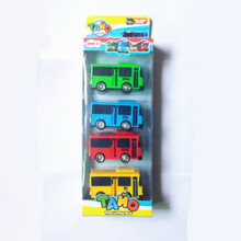 4pcs/set Tayo the little bus Korean Cartoons oyuncak araba car model mini plastic pull back tayo bus for kids Christmas gift(China)