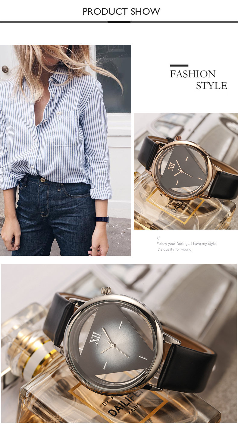 Famous Brand Hollow Inverted triangle Series Women Watches Luxury Brand Ladies Skeleton Watch Fashion Girls Wristwatch Gift