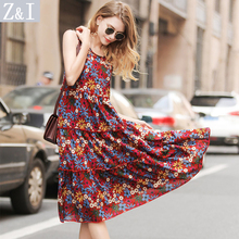 Women Floral Long Dress Beach Wear Bamboo Cotton 2017 New Summer Floral Print Sexy Feminine Dresses Sleeveless Ladies Clothing