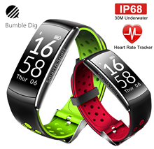 B-DIG Smart Wristband Heart Rate Monitor IP68 Waterproof Fitness Tracker Blood Pressure gps Bluetooth For Android IOS women men(China)