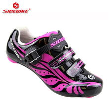 sidebike road bike shoes women competition racing exercise cycling shoes road bike pedals trek bicycle sneakers breathable 35-39