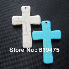 Square shape 40mm*60mm large Synthetic Stone vintage crosses  beads for jewelry making blue white color