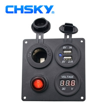 CHSKY Dual USB 5V 3.1A Motorcycle Car Charger Power Adapter Voltmeter & Switch & Car Cigarette Lighter Socket (Not LED Light)(China)