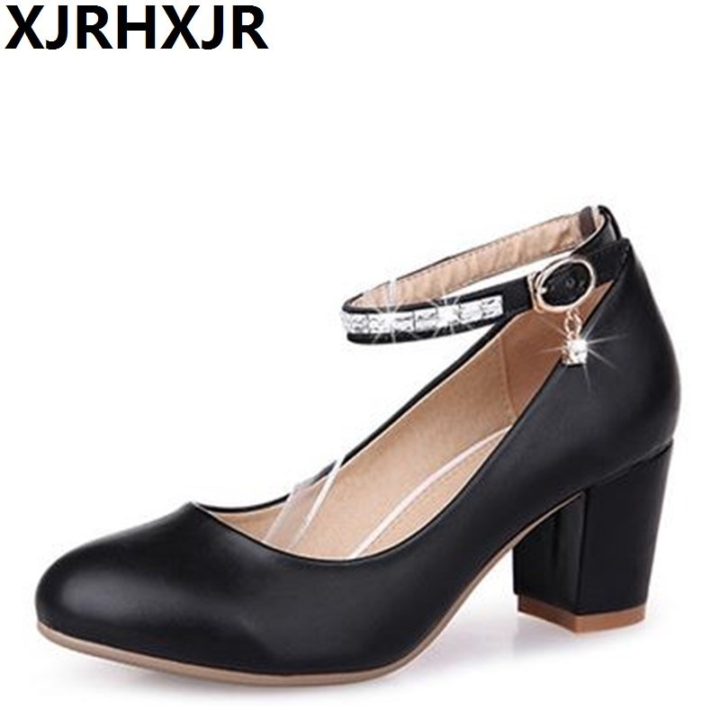 XJRHXJR Bride Wedding Shoes Womens Shoes Red Bridesmaid Thick Heel Pumps Rhinestones Womens Leather Shoes Large Size 34-43<br>