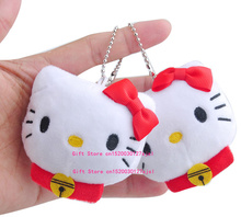 Kawaii 1X Pink or Red Bowknot 7CM Hello Kitty Plush Stuffed TOY with keychain , Kid's Wedding Gift plush TOY Bouquet TOY DOLL(China)