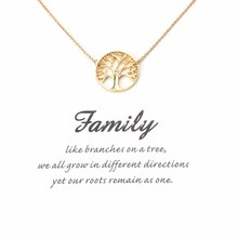 1pc Fashion gold tree life charms necklace pendant family reunion gift card necklace lucky eye jewelry findings gift necklace(China)
