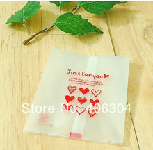"Free shipping, red printing""JUST FOR YOU"" semitransparent cookie bag, plastic snack  bag, bake gift bag,10.8CM*8.4CM"