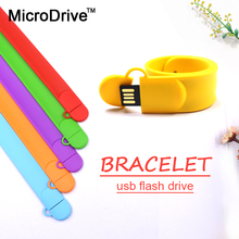 Colorful Real capacity Silicone Bracelet Wrist Band 64G 32GB 16GB 8GB 4GB USB2.0 USB Flash Drive Pen Drive Stick U Disk Pendrive(China)