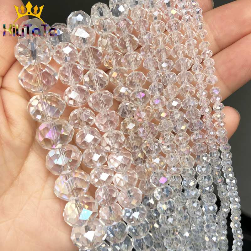 Wholesale Multicolor Faceted White AB Crystal Loose Beads Craft DIY 4//6//8//10mm