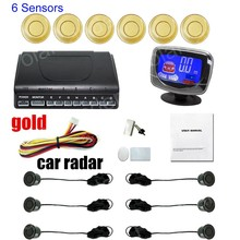 hot sale 9 colors for option car parking system with 6 sensors for front and rear buzzer alarm LCD display monitor car radar(China)