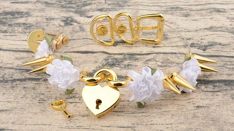100% Handmade Clear PVC Safe Heart Collares Kawaii Lockable With Key PadLock Choker Flowers Harajuku Double Long Spikes Necklace 9