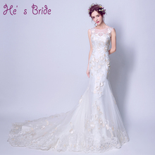 2017 New Arrival White Scoop Neck Embriodery Mermaid Lace Up Back Wedding Dress Modern Elegant Court Train Wedding Dress(China)
