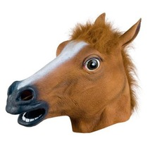 Funny Cosplay Halloween Full Horse Head Mask Rubber Latex Animal ZOO Party Costume Prop Toys Novel Horse-Mask Theater Prop