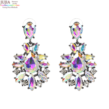 New 2017 hot sell Trend fashion AB color crystal vintage design party girl statement Earrings for women wholesale(China)