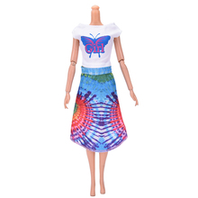 1set Butterfly Print Top With Skirt Sets for Barbie Lovely Doll Handmade Clothing