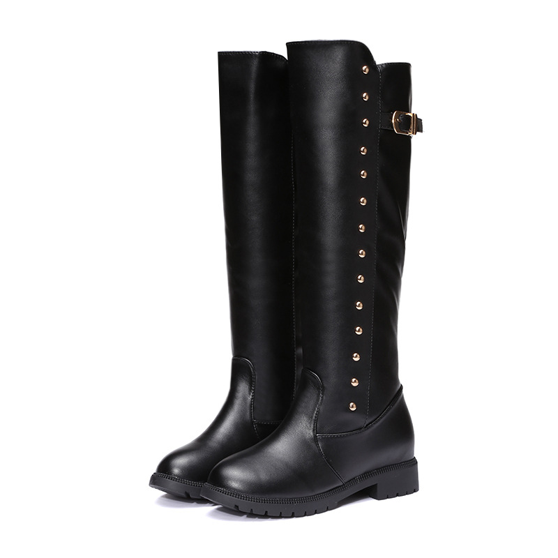 2017 New Fashion Winter Women Boots Knee High Shoes Woman Solid Boots Black Boots Woman Bota Feminina Zapatos Mujer<br><br>Aliexpress