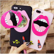 fashion big Lips Lipstick mirror cover for apple iphone 6 6s plus 5.5 iPhone7 7P 8 8P X soft Silicone mobile phone Case strap(China)