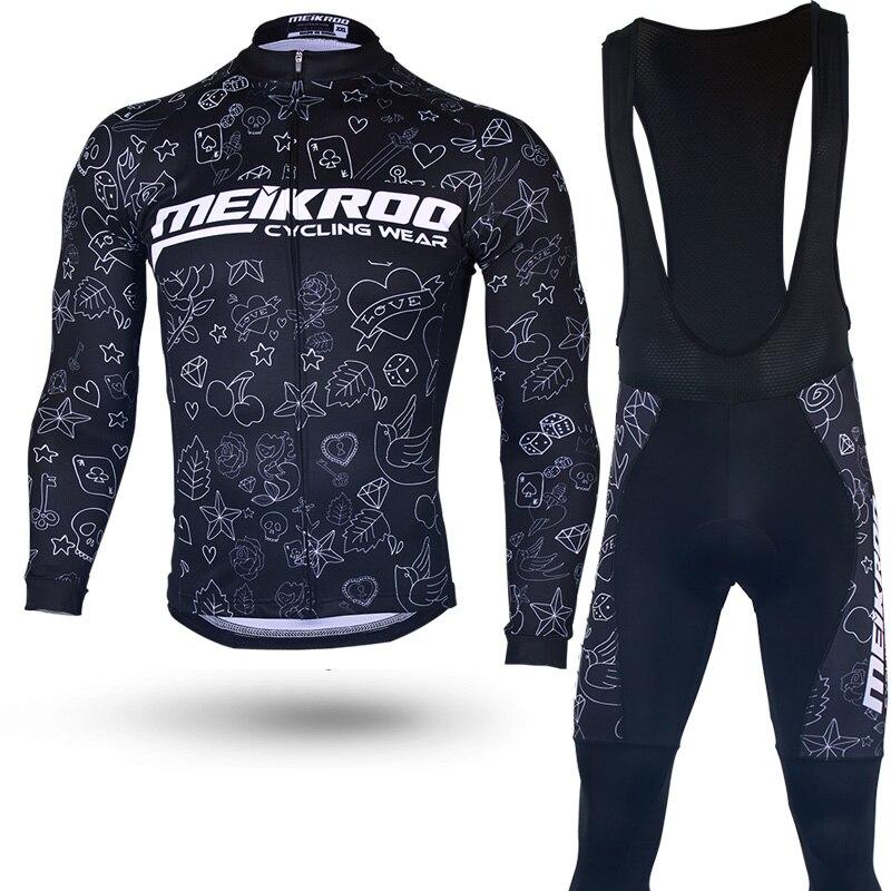 Original Meikroo  bib long sleeve cycling jersey sets tattoos pattern pro team bib long cycling maillot sets<br>
