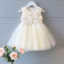 2016 Newborn Toddler Baby Girls kids Sleeveless Pageant Prom Party Princess Ball Gown Cotton Formal Dresses One-pieces