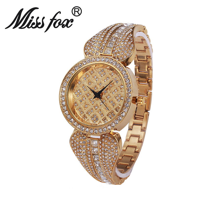 MissFox Women Metal Watch Bracelets Water Resistant Women Wrist Watch Top Brand Luxury Rhinestone Watch Gold Diamond Watches<br>
