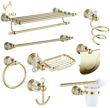 Golden Polished Brass & Crystal Bathroom accessories Bath Hardware Set Towel Rack Towel Bar Paper Holder Soap Dish JM2221