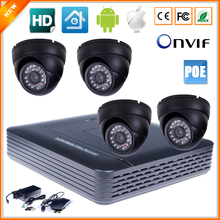 Home Surveillance System 4CH IP Security Camera PoE NVR Kit System With 4 Indoor Dome IP Camera PoE 720P 1MP P2P 24 IR LED