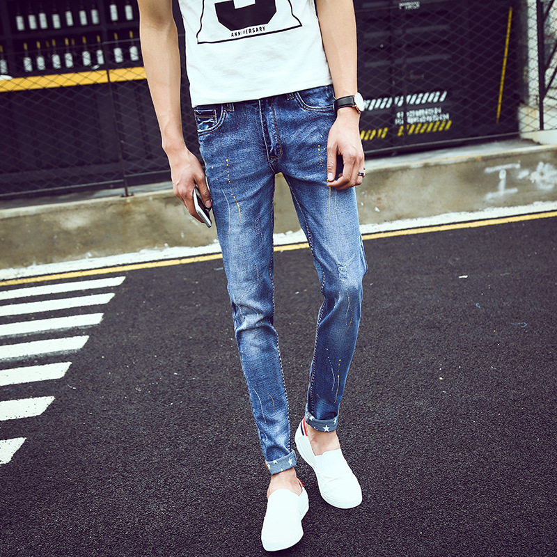 The 2017 brand washing jeans mens trousers worn paint printing jeans flanging personality bottom of the trouser legОдежда и ак�е��уары<br><br><br>Aliexpress