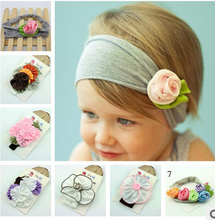 2016 New Popular Style 6 Colors Cotton Stretch Kids Headband Flower Hair Bands Bay Girl Hair Accessories A026