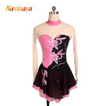 Customized Figure Skating Dress Costume Ice Skating skirt Gymnastics pink Adult Girl Show Performance Rhinestone Competition(China)