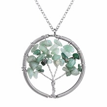 OBSEDE 2016 Special Design For Women Girl Gift Fashion Tree of Life Necklace Elegant Natural Stone Round Green Wedding Jewelry